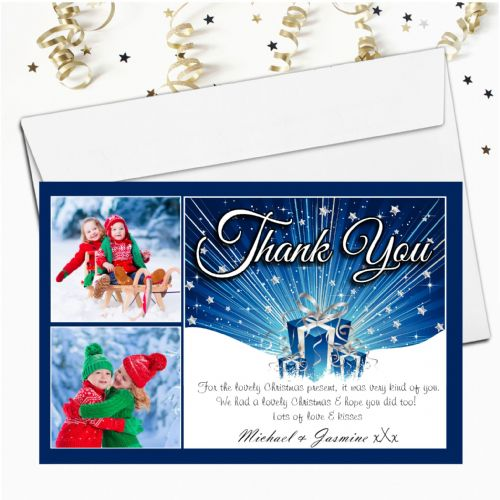 10 Personalised Christmas Xmas Thank you PHOTO Cards N16